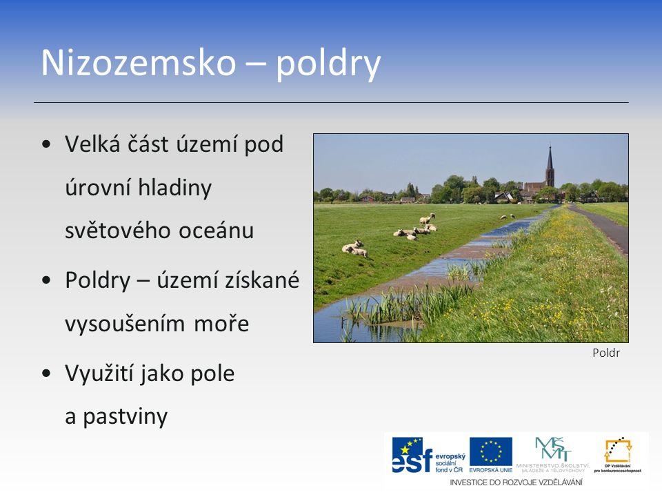 Nizozemsko – poldry Velká část území pod úrovní hladiny světového oceánu Poldry – území získané vysoušením moře Využití jako pole a pastviny Poldr