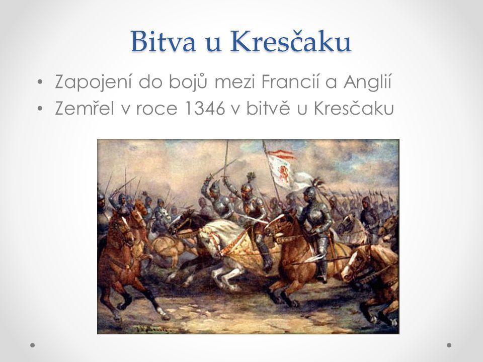 Bitva u Kresčaku Zapojení do bojů mezi Francií a Anglií Zemřel v roce 1346 v bitvě u Kresčaku
