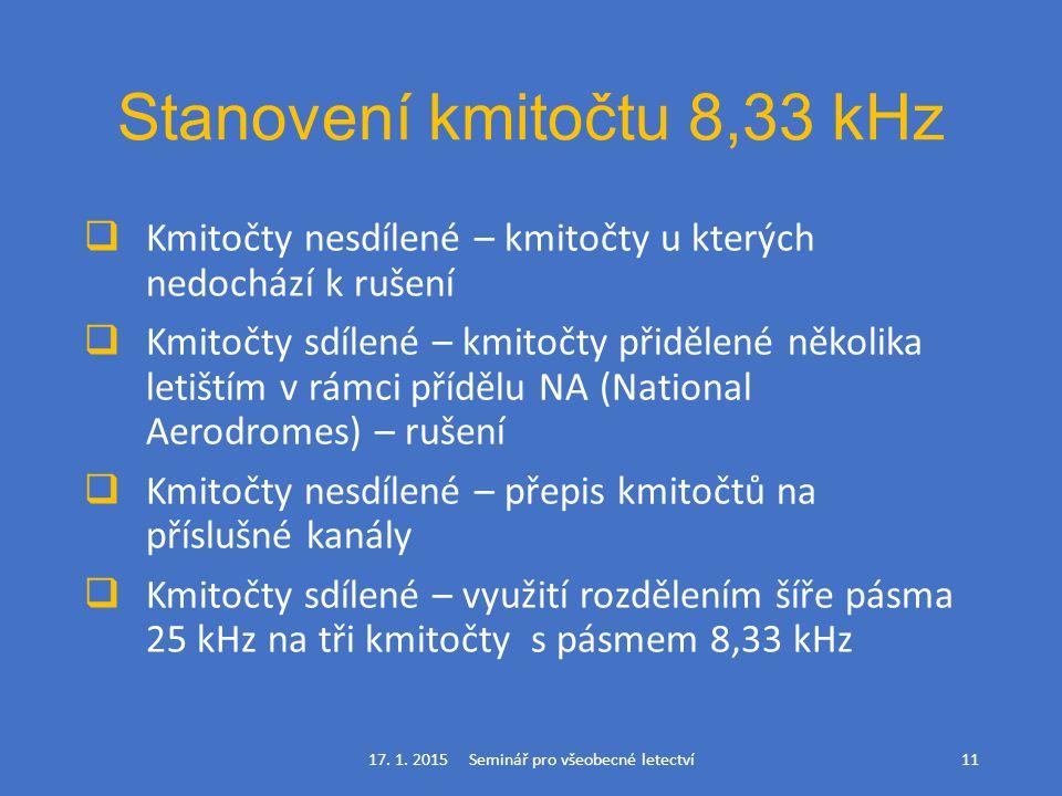 Stanovení kmitočtu 8,33 kHz  Kmitočty nesdílené – kmitočty u kterých nedochází k rušení  Kmitočty sdílené – kmitočty přidělené několika letištím v r