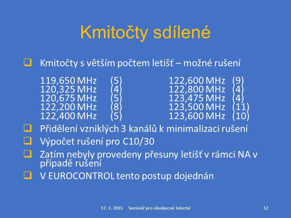 Kmitočty sdílené  Kmitočty s větším počtem letišť – možné rušení 119,650 MHz(5)122,600 MHz (9) 120,325 MHz(4)122,800 MHz (4) 120,675 MHz(5)123,475 MH