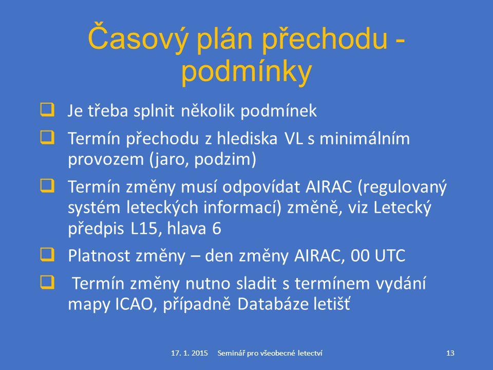 Časový plán přechodu - podmínky  Je třeba splnit několik podmínek  Termín přechodu z hlediska VL s minimálním provozem (jaro, podzim)  Termín změny