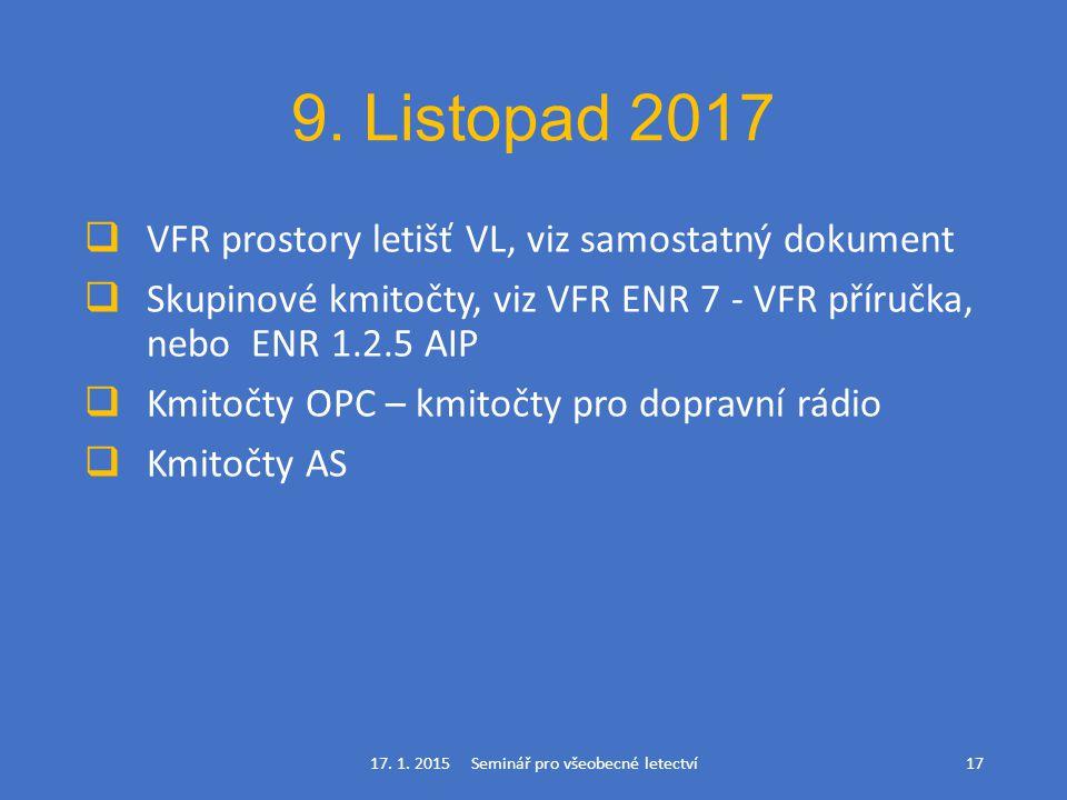 9. Listopad 2017  VFR prostory letišť VL, viz samostatný dokument  Skupinové kmitočty, viz VFR ENR 7 - VFR příručka, nebo ENR 1.2.5 AIP  Kmitočty O
