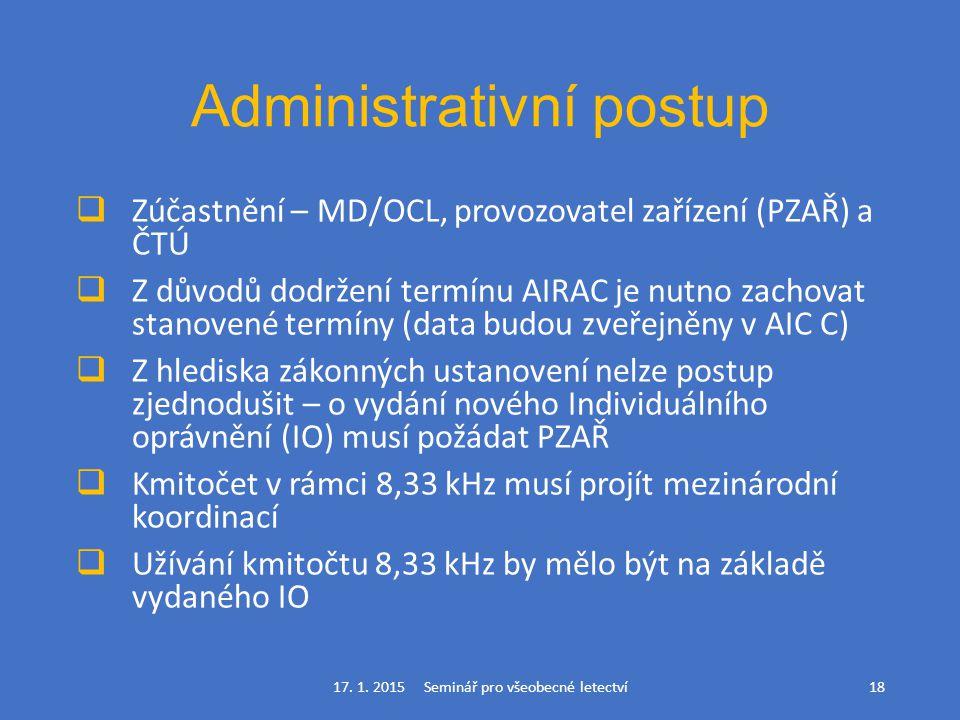 Administrativní postup  Zúčastnění – MD/OCL, provozovatel zařízení (PZAŘ) a ČTÚ  Z důvodů dodržení termínu AIRAC je nutno zachovat stanovené termíny