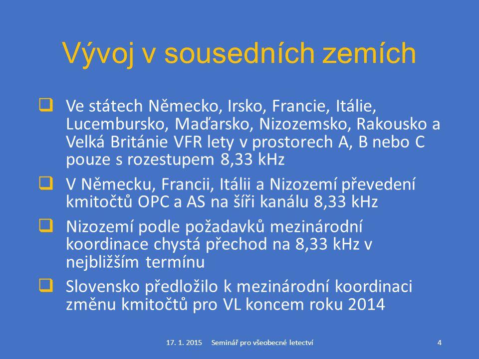 Vývoj v sousedních zemích  Ve státech Německo, Irsko, Francie, Itálie, Lucembursko, Maďarsko, Nizozemsko, Rakousko a Velká Británie VFR lety v prosto