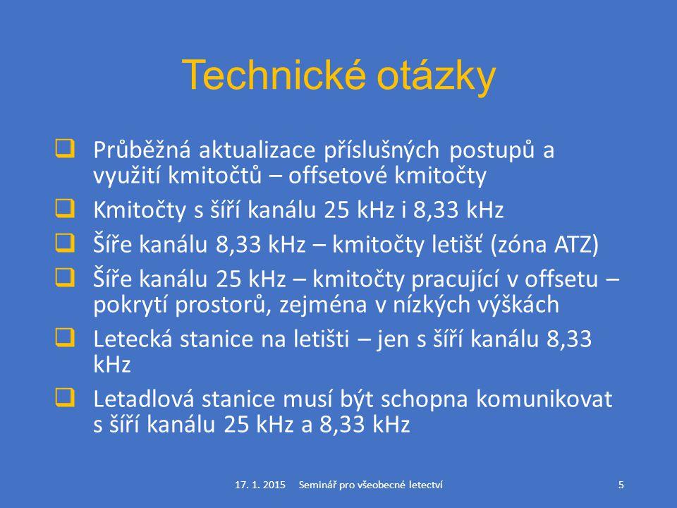 Technické otázky  Průběžná aktualizace příslušných postupů a využití kmitočtů – offsetové kmitočty  Kmitočty s šíří kanálu 25 kHz i 8,33 kHz  Šíře