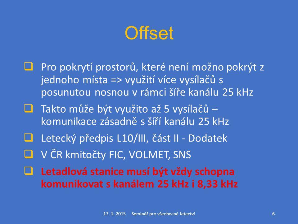 Offset  Pro pokrytí prostorů, které není možno pokrýt z jednoho místa => využití více vysílačů s posunutou nosnou v rámci šíře kanálu 25 kHz  Takto