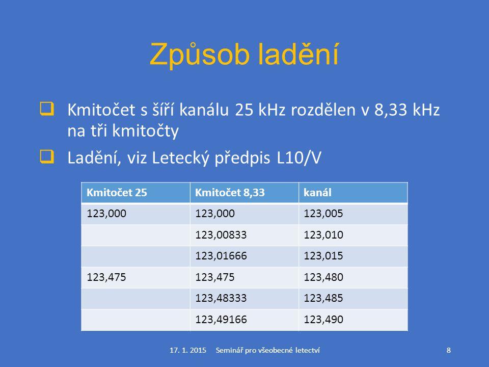 Způsob ladění  Kmitočet s šíří kanálu 25 kHz rozdělen v 8,33 kHz na tři kmitočty  Ladění, viz Letecký předpis L10/V 17. 1. 2015 Seminář pro všeobecn