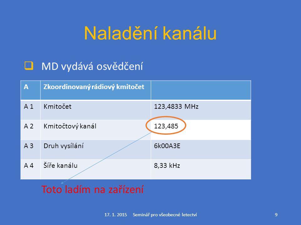 Naladění kanálu  MD vydává osvědčení Toto ladím na zařízení 17. 1. 2015 Seminář pro všeobecné letectví9 AZkoordinovaný rádiový kmitočet A 1Kmitočet12