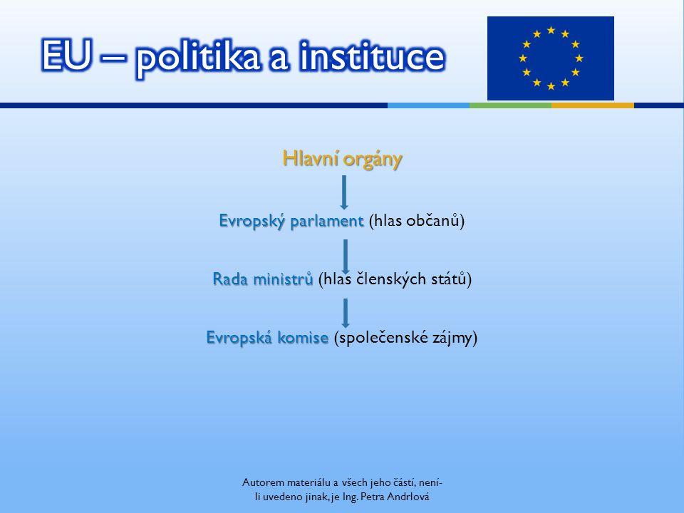 Hlavní orgány Evropský parlament Evropský parlament (hlas občanů) Rada ministrů Rada ministrů (hlas členských států) Evropská komise Evropská komise (společenské zájmy) Autorem materiálu a všech jeho částí, není- li uvedeno jinak, je Ing.