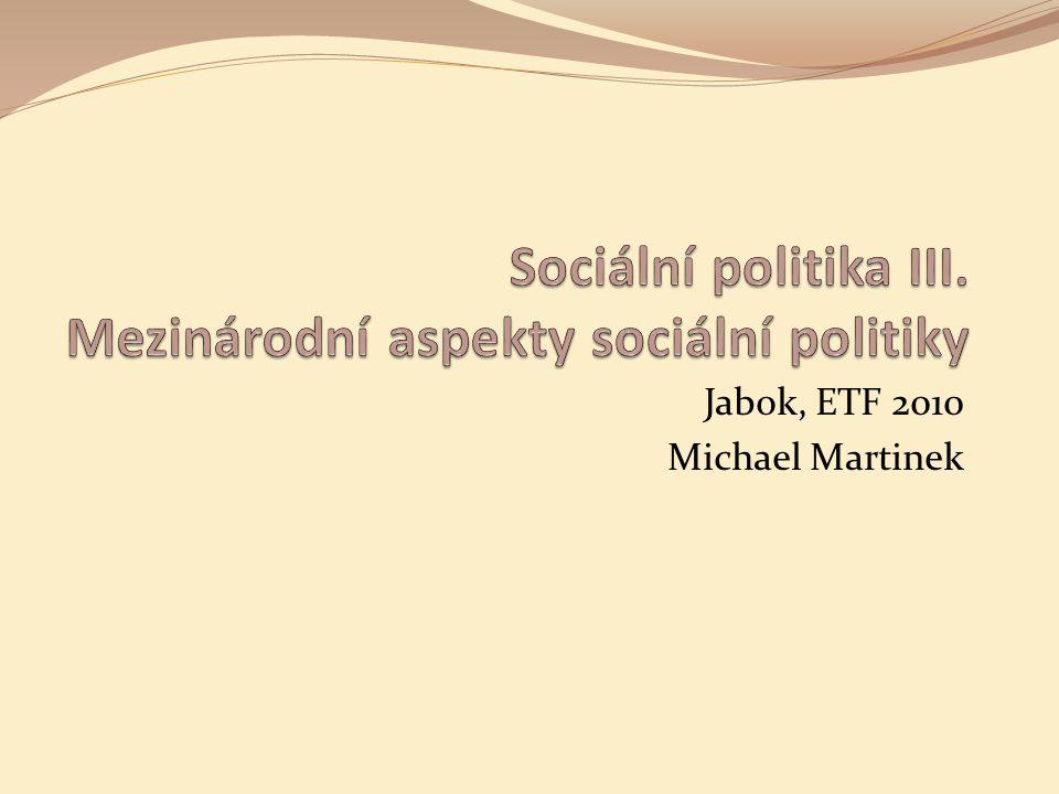 5 Sociální politika III. Jabok, ETF, 2010. Michael Martinek12