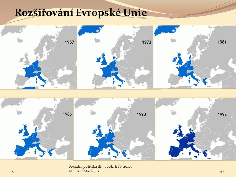 Rozšiřování Evropské Unie 5 Sociální politika III. Jabok, ETF, 2010. Michael Martinek42