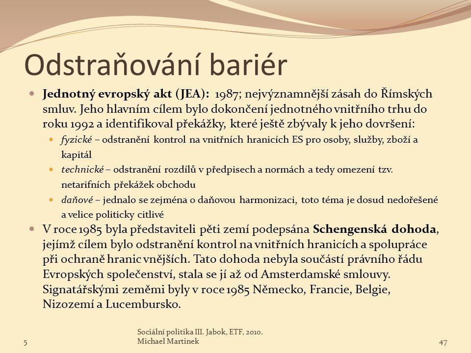 Odstraňování bariér Jednotný evropský akt (JEA): 1987; nejvýznamnější zásah do Římských smluv.