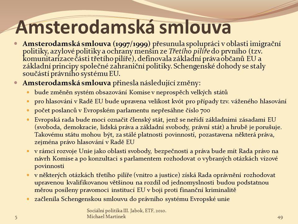 Amsterodamská smlouva Amsterodamská smlouva (1997/1999) přesunula spolupráci v oblasti imigrační politiky, azylové politiky a ochrany menšin ze Třetího pilíře do prvního (tzv.