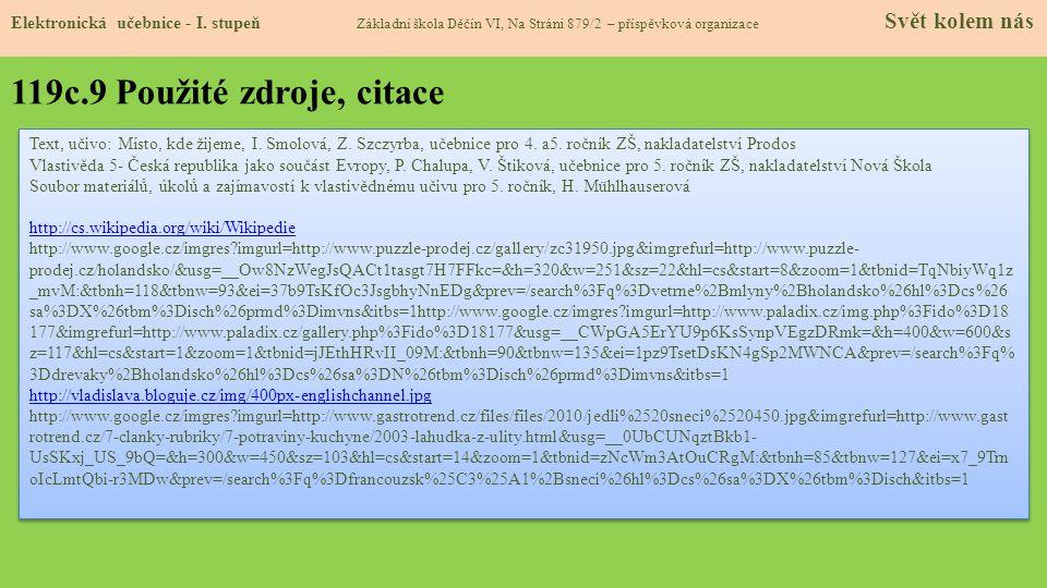119c.9 Použité zdroje, citace Elektronická učebnice - I.