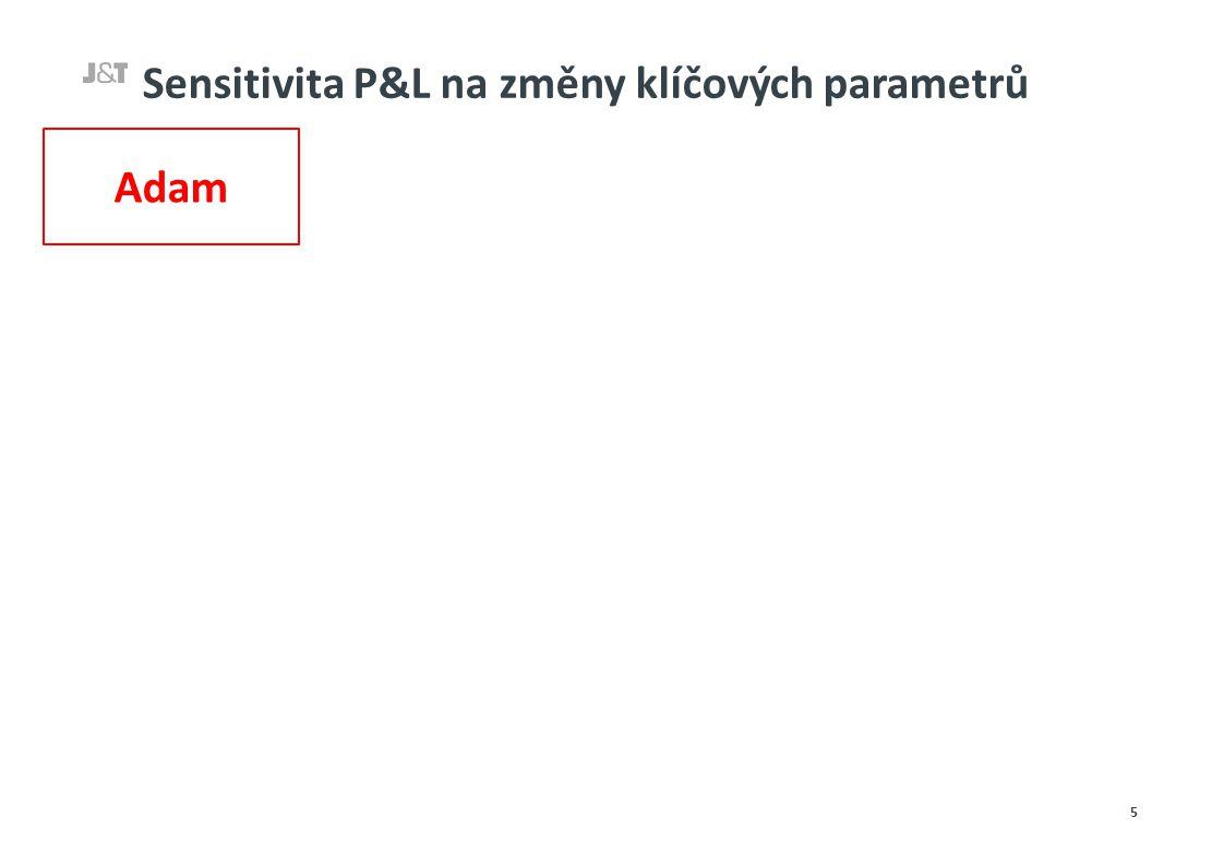Sensitivita P&L na změny klíčových parametrů 5 Adam