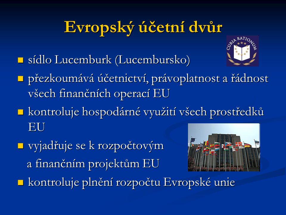Evropský účetní dvůr sídlo Lucemburk (Lucembursko) sídlo Lucemburk (Lucembursko) přezkoumává účetnictví, právoplatnost a řádnost všech finančních oper