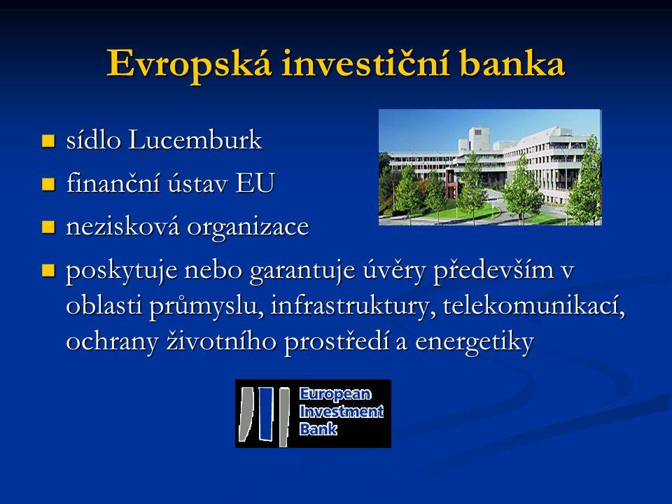 Evropská investiční banka sídlo Lucemburk sídlo Lucemburk finanční ústav EU finanční ústav EU nezisková organizace nezisková organizace poskytuje nebo