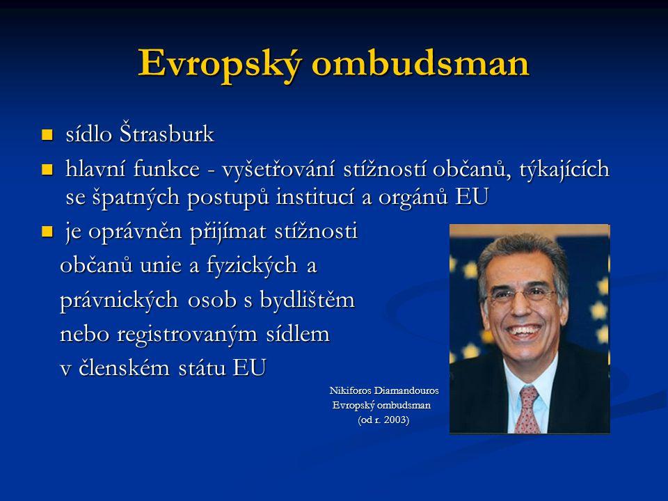 Evropský ombudsman sídlo Štrasburk sídlo Štrasburk hlavní funkce - vyšetřování stížností občanů, týkajících se špatných postupů institucí a orgánů EU