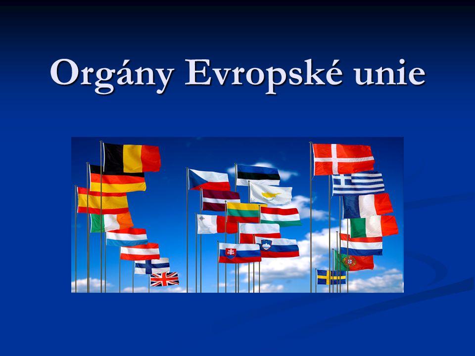 Rada Evropské unie sídlo Brusel (Belgie) sídlo Brusel (Belgie) hlavní politický a rozhodovací orgán EU hlavní politický a rozhodovací orgán EU zastupuje zájmy členských států na úrovni EU zastupuje zájmy členských států na úrovni EU plní zákonodárnou a některé výkonné funkce plní zákonodárnou a některé výkonné funkce