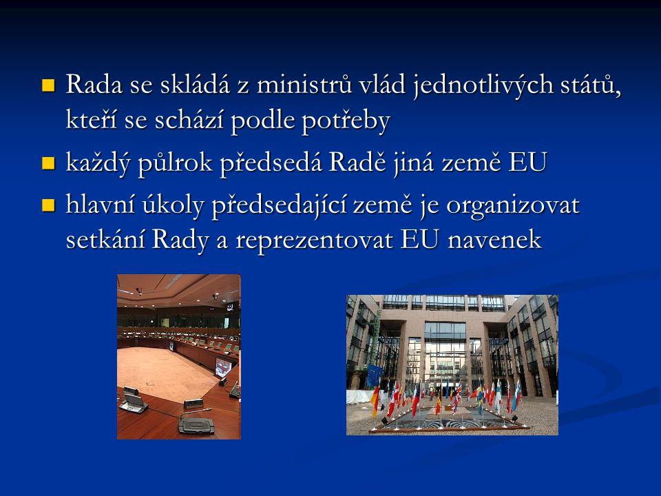 Evropská komise sídlo Brusel (Belgie) sídlo Brusel (Belgie) složení – 27 komisařů, 1 z každé členské země složení – 27 komisařů, 1 z každé členské země výkonný orgán EU výkonný orgán EU předkládá návrhy právních předpisů předkládá návrhy právních předpisů kontroluje plnění zakládacích smluv kontroluje plnění zakládacích smluv a dodržování právních norem a dodržování právních norem vypracovává návrh rozpočtu EU a provádí kontrolu jeho plnění vypracovává návrh rozpočtu EU a provádí kontrolu jeho plnění