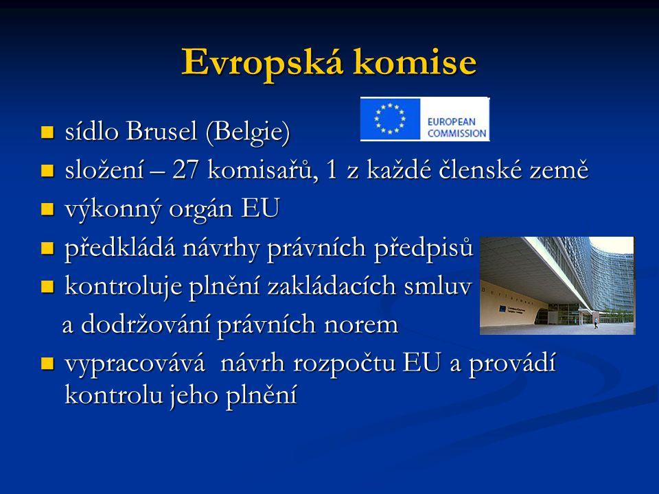 Evropský parlament sídlo Štrasburk, Brusel, Lucemburk sídlo Štrasburk, Brusel, Lucemburk složení - 785 poslanců volených složení - 785 poslanců volených v přímých volbách občany EU na pětileté období v přímých volbách občany EU na pětileté období zastupuje občany států EU zastupuje občany států EU hlavním úkolem je demokratická kontrola zákonodárného procesu a výkonné moci, schvalování návrhu rozpočtu hlavním úkolem je demokratická kontrola zákonodárného procesu a výkonné moci, schvalování návrhu rozpočtu podílí se na tvorbě zákonů, vyslovuje souhlas s mezinárodními smlouvami a přijímáním nových členských států podílí se na tvorbě zákonů, vyslovuje souhlas s mezinárodními smlouvami a přijímáním nových členských států