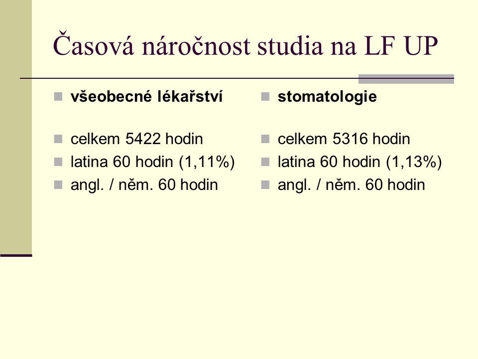 Časová náročnost studia na LF UP všeobecné lékařství celkem 5422 hodin latina 60 hodin (1,11%) angl. / něm. 60 hodin stomatologie celkem 5316 hodin la
