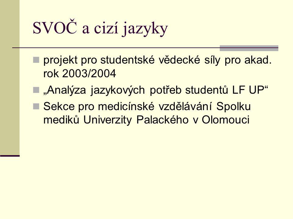 """SVOČ a cizí jazyky projekt pro studentské vědecké síly pro akad. rok 2003/2004 """"Analýza jazykových potřeb studentů LF UP"""" Sekce pro medicínské vzděláv"""