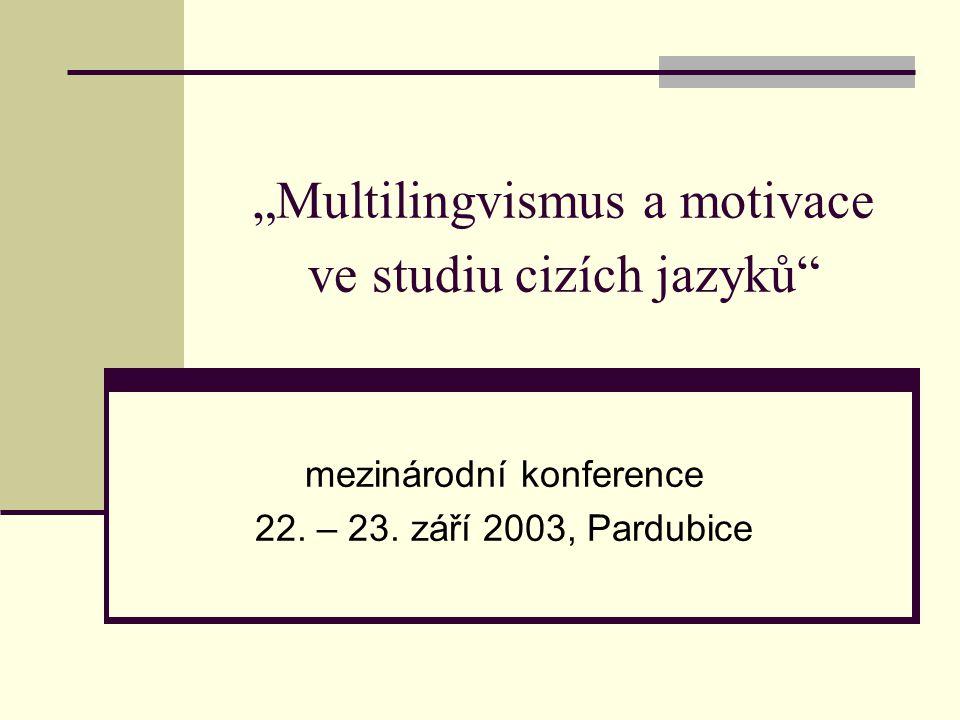 """""""Multilingvismus a motivace ve studiu cizích jazyků"""" mezinárodní konference 22. – 23. září 2003, Pardubice"""