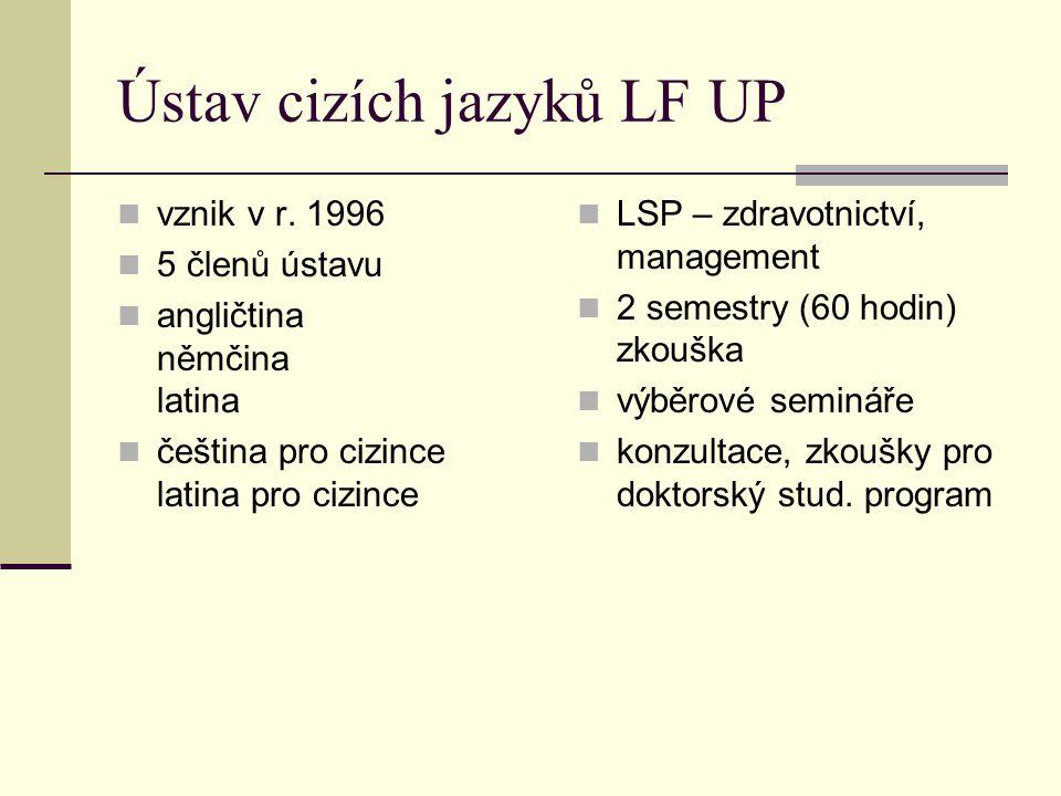 Ústav cizích jazyků LF UP vznik v r. 1996 5 členů ústavu angličtina němčina latina čeština pro cizince latina pro cizince LSP – zdravotnictví, managem