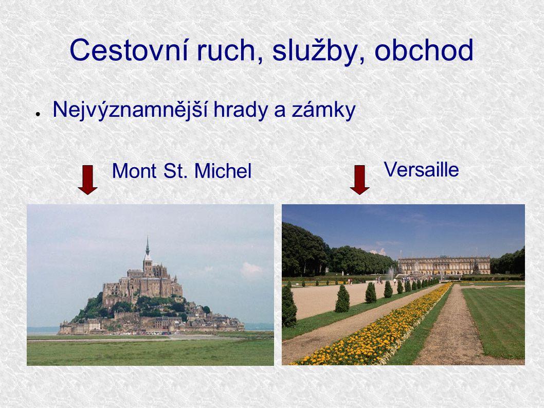 Cestovní ruch, služby, obchod ● Nejvýznamnější hrady a zámky Versaille Mont St. Michel