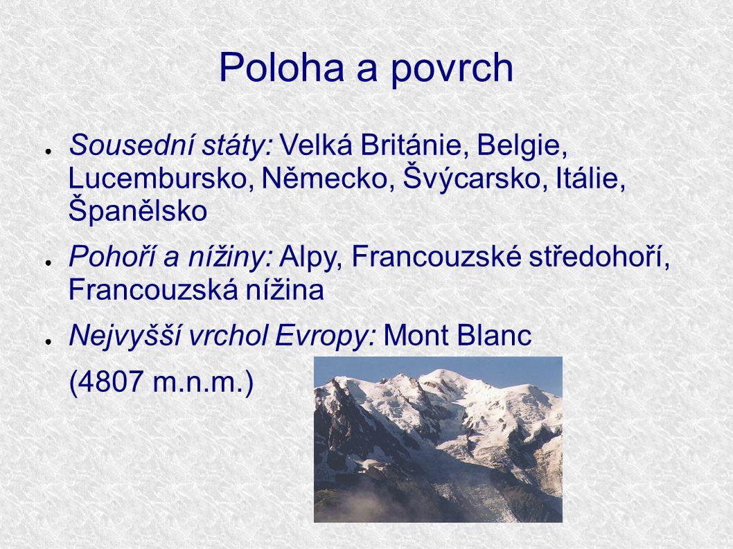 Poloha a povrch ● Sousední státy: Velká Británie, Belgie, Lucembursko, Německo, Švýcarsko, Itálie, Španělsko ● Pohoří a nížiny: Alpy, Francouzské stře