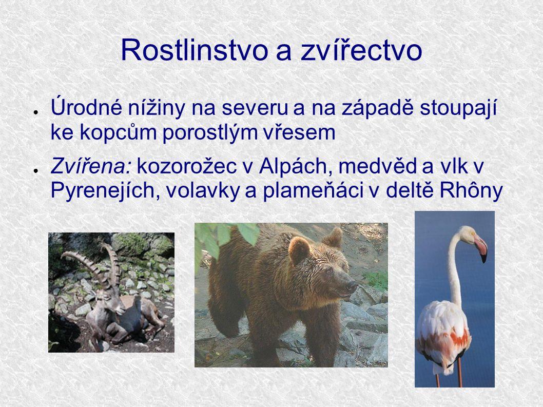 Rostlinstvo a zvířectvo ● Úrodné nížiny na severu a na západě stoupají ke kopcům porostlým vřesem ● Zvířena: kozorožec v Alpách, medvěd a vlk v Pyrene