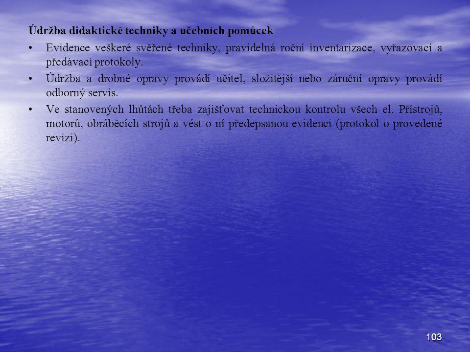 103 Údržba didaktické techniky a učebních pomůcek Evidence veškeré svěřené techniky, pravidelná roční inventarizace, vyřazovací a předávací protokoly.