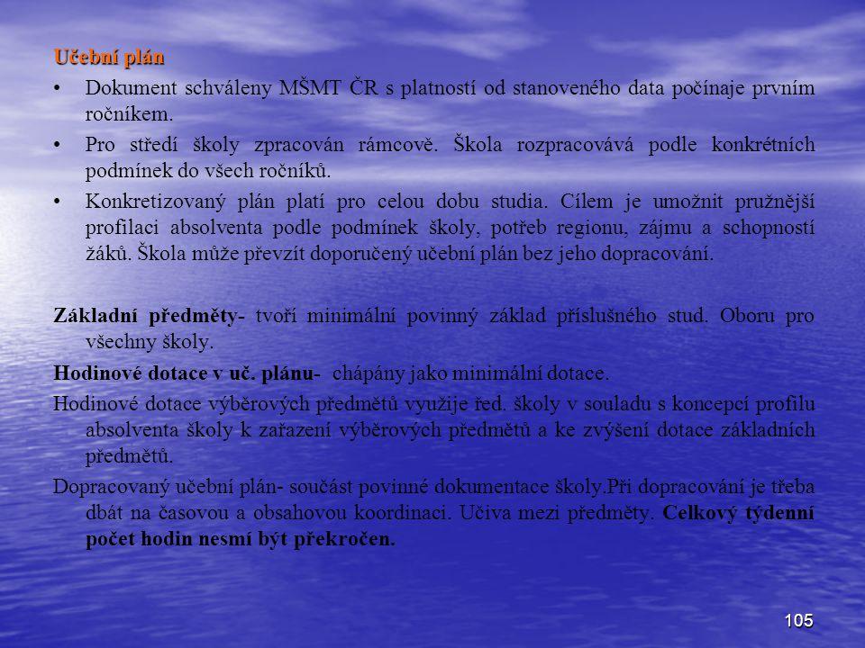 105 Učební plán Dokument schváleny MŠMT ČR s platností od stanoveného data počínaje prvním ročníkem. Pro středí školy zpracován rámcově. Škola rozprac