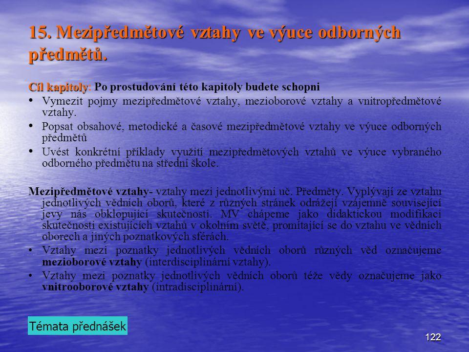 122 15.Mezipředmětové vztahy ve výuce odborných předmětů.