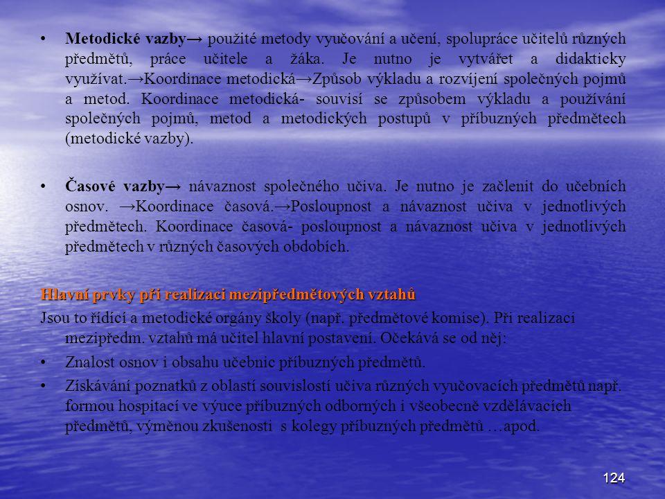 124 Metodické vazby→ použité metody vyučování a učení, spolupráce učitelů různých předmětů, práce učitele a žáka. Je nutno je vytvářet a didakticky vy