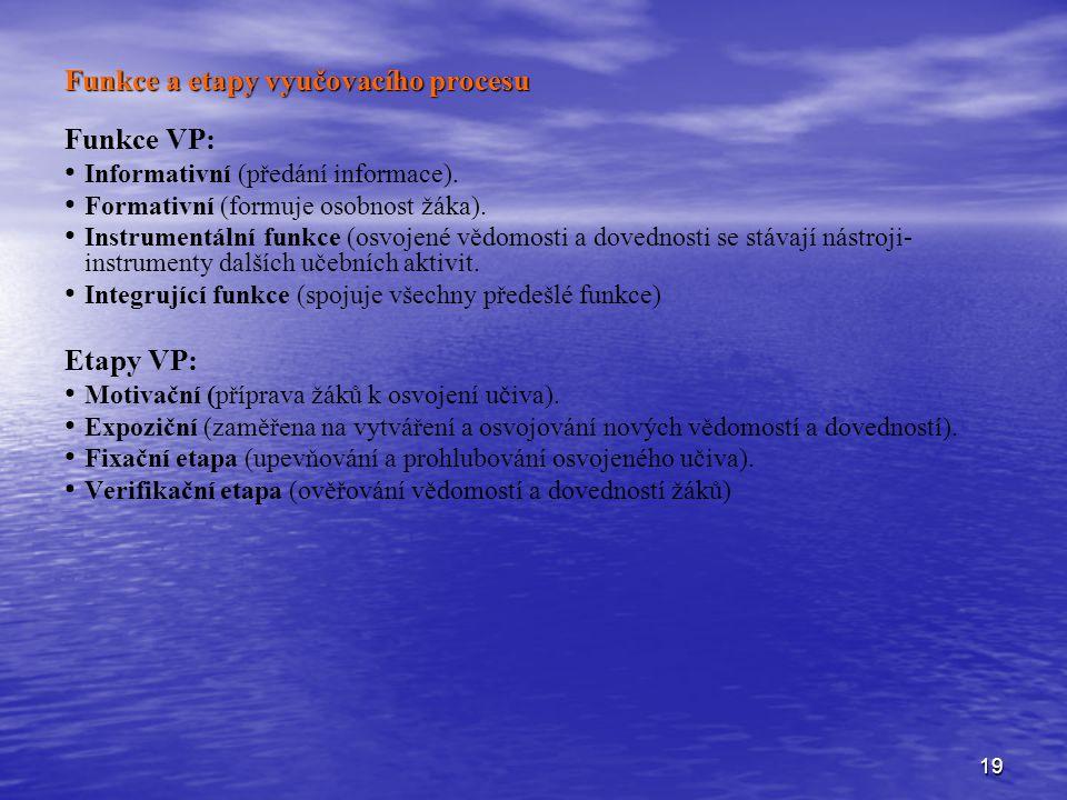 19 Funkce a etapy vyučovacího procesu Funkce VP: Informativní (předání informace). Formativní (formuje osobnost žáka). Instrumentální funkce (osvojené