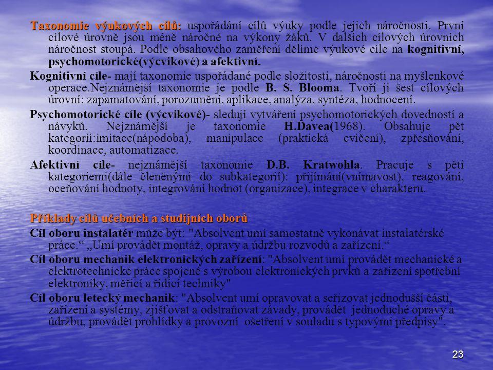 23 Taxonomie výukových cílů: Taxonomie výukových cílů: uspořádání cílů výuky podle jejich náročnosti. První cílové úrovně jsou méně náročné na výkony