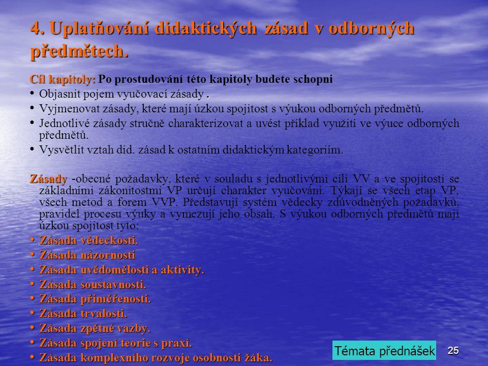 25 4.Uplatňování didaktických zásad v odborných předmětech.