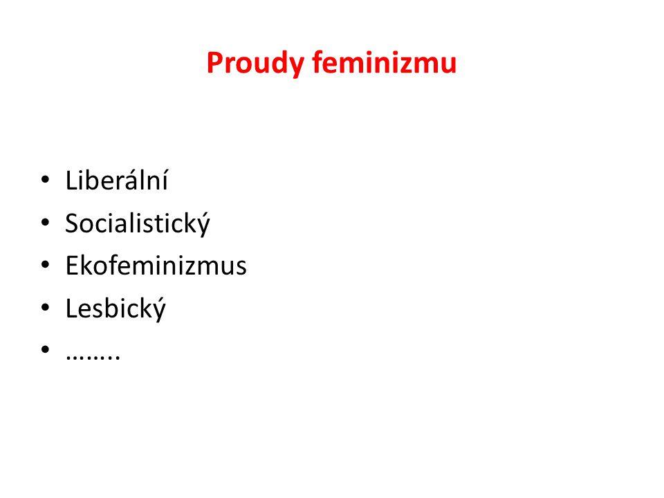 Proudy feminizmu Liberální Socialistický Ekofeminizmus Lesbický ……..