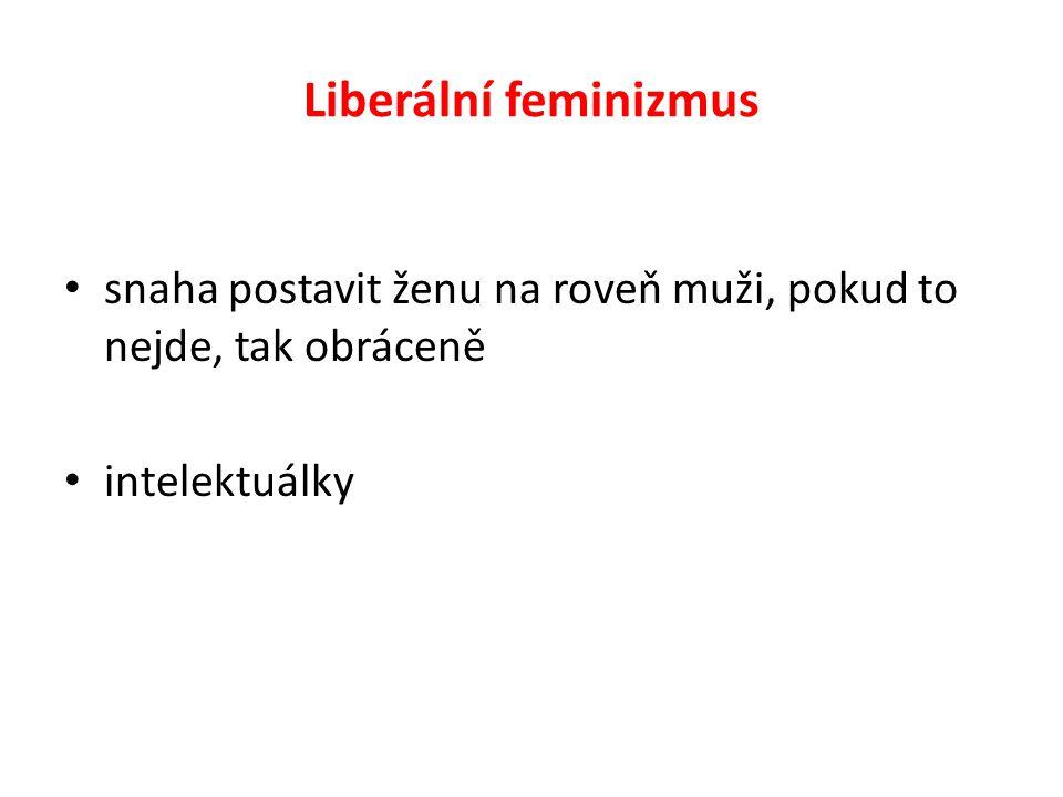 Liberální feminizmus snaha postavit ženu na roveň muži, pokud to nejde, tak obráceně intelektuálky