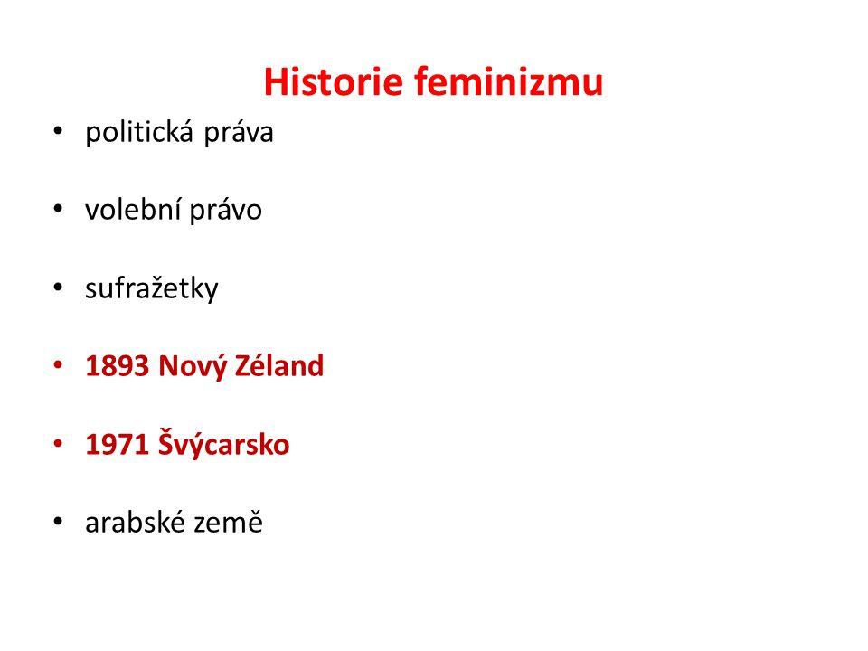 Historie feminizmu politická práva volební právo sufražetky 1893 Nový Zéland 1971 Švýcarsko arabské země