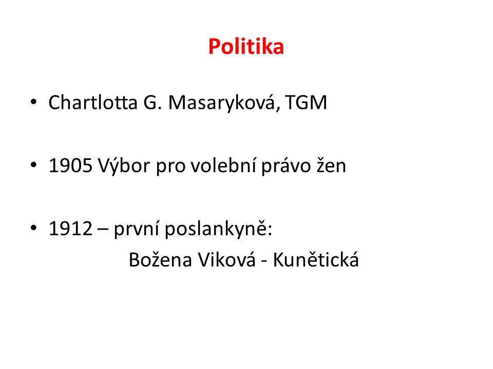 Politika Chartlotta G. Masaryková, TGM 1905 Výbor pro volební právo žen 1912 – první poslankyně: Božena Viková - Kunětická