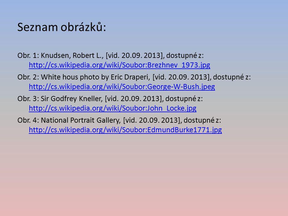 Seznam obrázků: Obr. 1: Knudsen, Robert L., [vid. 20.09. 2013], dostupné z: http://cs.wikipedia.org/wiki/Soubor:Brezhnev_1973.jpg http://cs.wikipedia.