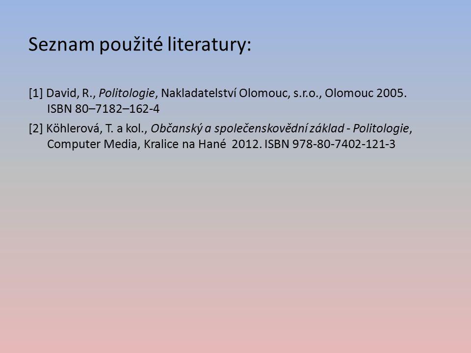 Seznam použité literatury: [1] David, R., Politologie, Nakladatelství Olomouc, s.r.o., Olomouc 2005. ISBN 80–7182–162-4 [2] Köhlerová, T. a kol., Obča