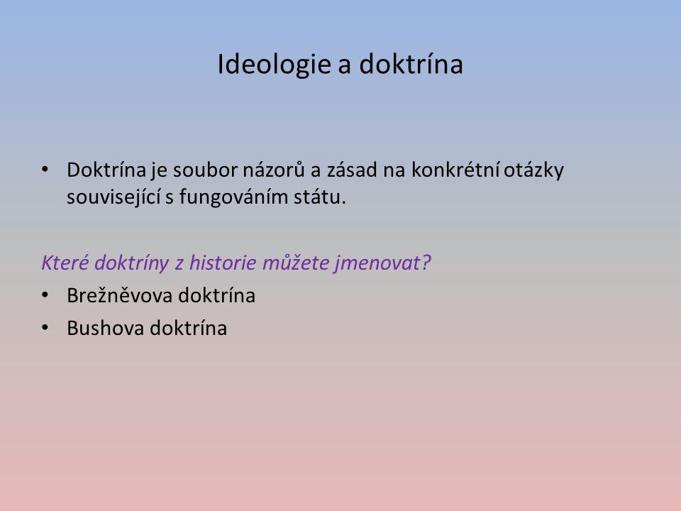 Ideologie a doktrína Doktrína je soubor názorů a zásad na konkrétní otázky související s fungováním státu. Které doktríny z historie můžete jmenovat?