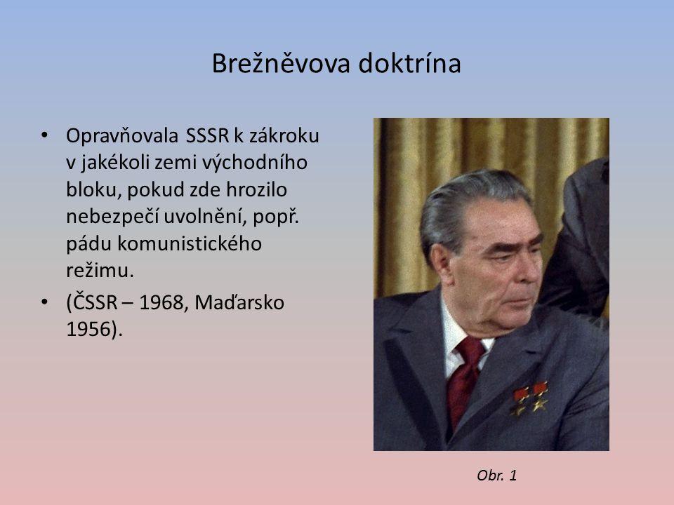 Brežněvova doktrína Opravňovala SSSR k zákroku v jakékoli zemi východního bloku, pokud zde hrozilo nebezpečí uvolnění, popř. pádu komunistického režim