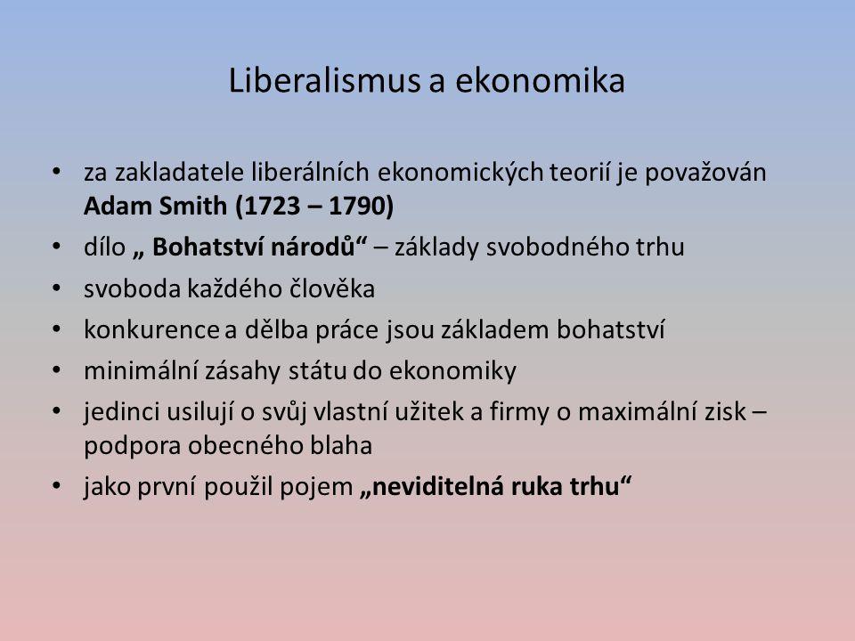 """Liberalismus a ekonomika za zakladatele liberálních ekonomických teorií je považován Adam Smith (1723 – 1790) dílo """" Bohatství národů"""" – základy svobo"""