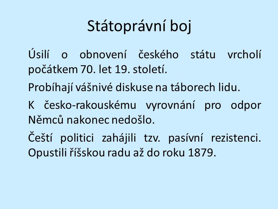Státoprávní boj Úsilí o obnovení českého státu vrcholí počátkem 70.