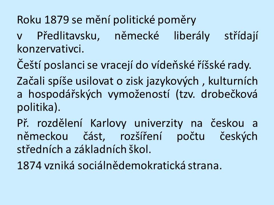 Roku 1879 se mění politické poměry v Předlitavsku, německé liberály střídají konzervativci.